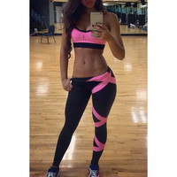 Active Spaghetti Strap Color Block Crop Top and Pants Twinset For Women