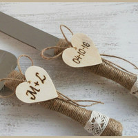 Personalized Cake Serving Set Cake Server Set Cutting Set Rustic Knife Set  Rustic Wedding
