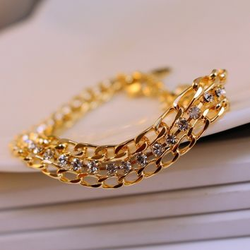 Awesome Great Deal Stylish New Arrival Hot Sale Shiny Gift Korean Diamonds Simple Design Bracelet [6513552711]
