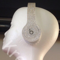 Swarovski Crystal - Drenched in Color - Beats by Dre Solo - White (New Headphones Included)