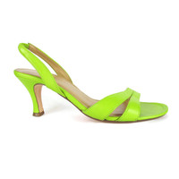 90s Lime Green Slingback Heels Open Toe Strappy Leather Sandals Neon Green Heels Bright Slingback Sandals Spring Wedding Low Heels Size 6.5