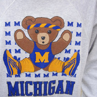 80's jazzercising teddy bear from university of michigan sweatshirt