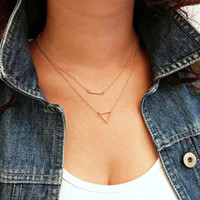 Sweet Hollow Triangle Pearl Beads Multilayer Necklace