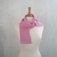Girls Knit Scarf, Bubblegum Pink, Soft Wool, Eyelet Lace Texture, Gift for Girls