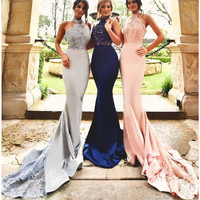 Long Mermaid Prom Dresses Arabic Designer Sexy Halter Women Formal Party Dresses with Lace Appliques Tulle Train MP71