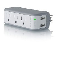 Belkin Mini 5W 3-Outlet Swivel Travel Charger with Dual USB Ports
