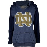 Notre Dame Fighting Irish- Distressed ND Juniors Relaxed Slit-Neck Hoodie