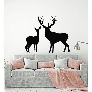 Vinyl Wall Decal Deer Family Forest Animals Nature Hunting Room Stickers Mural (g2588)