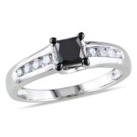 1 CT Black and White Princess and Round Diamonds TW Fashion Ring 10k White Gold GH I3 Black Rhodium Plated