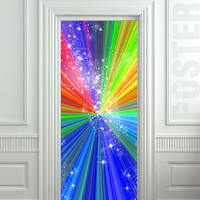 """Door STICKER rainbow outer cosmos abstraction space mural decole film self-adhesive poster 30""""x79""""(77x200 cm)"""