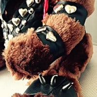 "Biker Chick Teddy Bear - One - of - a - Kind Collection "" TOXIFIED Bear"" Genuine Leather Clad Premium Unique Gift"