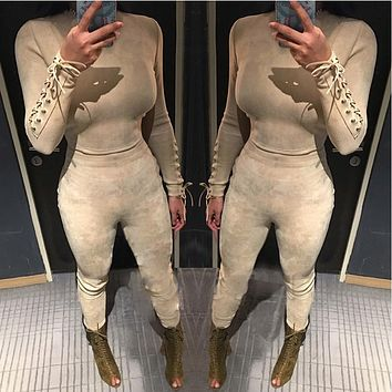 Lace up design Rompers Womens Jumpsuit Long sleeve Suede Women Plus Size Lady Clothing Women Rompers 2 Color drop shipping