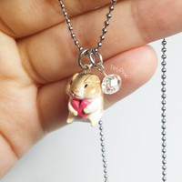 Mini Hamster Necklace with Crystal Glass Bead