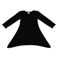 LZH7 Max Batwing Loose Asymmetric Long Sleeve Girl Dress For Kids Costume Casual Black and Gray Baby Girl Autumn Dress UBY