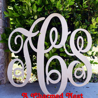 24 inch Wooden Monogram Letters. Great for weddings, birthdays, gifts, nursery and home decor