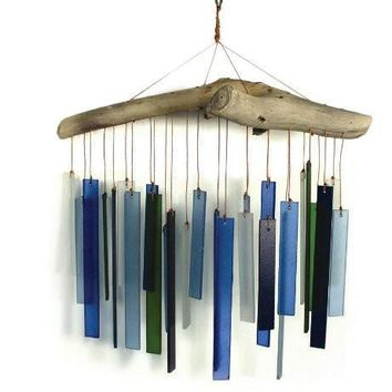 Artisan Made Blue Green Santa Fe Glass Wind Chime