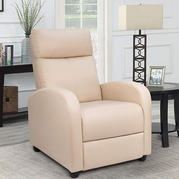 Homall Single Recliner Chair Padded Seat PU Leather Living Room Sofa Recliner Modern Recliner Seat Club Chair Home Theater Seating (Beige) Beige