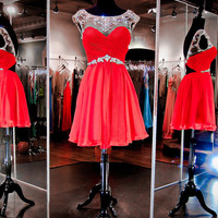 Red Homecoming Dress, Red Tulle Homecoming Dresses
