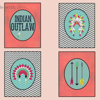 "Indian Outlaw Digital Print Set 8""x10"" Downloadable Wall Art Wall Décor Wall Hanging Pink Teal Black White Chevron Stripes"