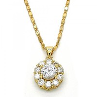 Gold Layered 04.94.0011.18 Pendant Necklace, Flower Design, with White Cubic Zirconia, Polished Finish, Golden Tone