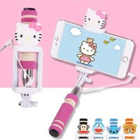 Monopod Extendable Selfie Stick Selfi 3.5mm Wired palo self Hello Kitty Stitch Minions with Holder For Samsung Iphone 6 7