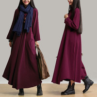 women cotton maxi dress long sleeve dress plus size dress winter dress loose fitting dress