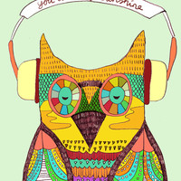 The Owl rustic song Art Print by Budi Satria Kwan