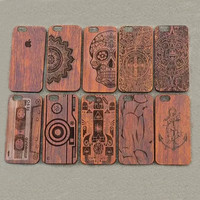 10Style Classic Indian Skull Magnetic Tape Pattern Cover PC+Wood Cases for iphone 5 5S 5G 6G 6S Plus Phone Shell EK1444
