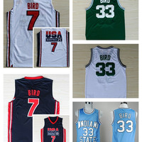7 Larry Bird Jersey 1992 USA Dream Team Throwback Indiana State Sycamores 33 Larry Bird Jersey Cheap College Basketball Jerseys Green White