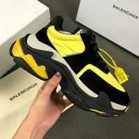 Balenciaga Triple-S Fashionable Men Retro Sport Shoes Sneakers Black/Yellow