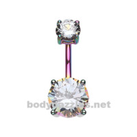 Rainbow Colorline Gem Prong Sparkle Belly Button Ring Stainless Steel Body Jewelry