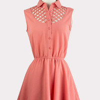 Coral Lattice Flared Dress