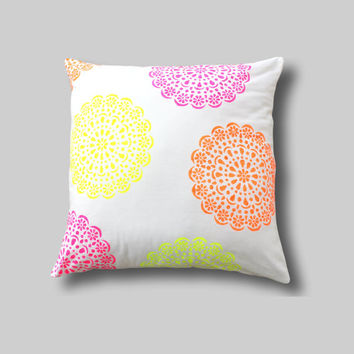 NEON Multi Colour Floor Cushion Cover,  Giant Pillow, Pink Girls Bedroom Decor, Pink Floor Cushion, Yellow Floor Pillow