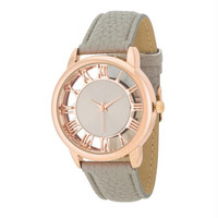 Cecelia Rose Gold Boyfriend Watch With Grey Leather Band