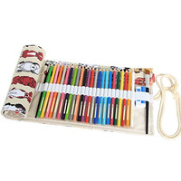 Damero Design Canvas Wrap Holder for 72 Colored Pencil, Roll Case for Pencils, Travel Organizer Pouch for Artist, Multi-purpose (No Pencils Included), 72 Holes, Dogs