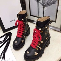 GUCCI Womens Fashion Leather High Top Boots Heels Shoes knight boot Autumn Winter