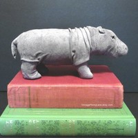 Vintage Suede Leather Covered Hippo Animal Figure, Hippopotamus Sculpture