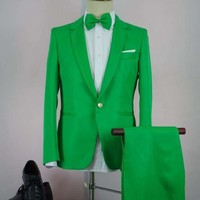 man suit fashion Green slim costume suit with pant male chorus singers performances tide men suits suit with pants
