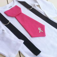 Baby boys Hot Pink tie Bodysuit-Breast Cancer Awareness - Size NB to 5years- Design Your Own