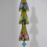 Glass Wind Chime, Upcycled wine bottle wind chime, Flowers, Pink, Yellow, Purple, Sun catcher