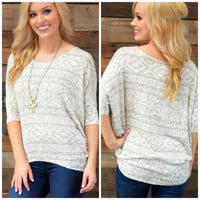 South Valley Taupe Aztec Top