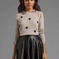 Paper Crown by Lauren Conrad 5th Avenue Sweater in Jewel Navy Polka Dot from REVOLVEclothing.com