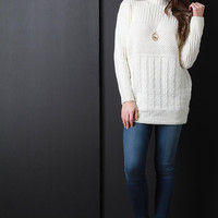 Mixed Cabel Knit Mock Neck Long Sleeves Sweater Top