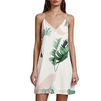 Beach Cami Dress Women Palm Leaf Print Double V Neck Casual Shift Dresses Sexy Sleeveless Vacation Dress