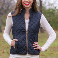Fur Lined Quilted Riding Vest - Black