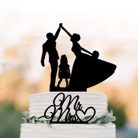 two tier bride and groom high five Wedding Cake topper with child, family wedding cake topper with  girls, mr and mrs cake topper