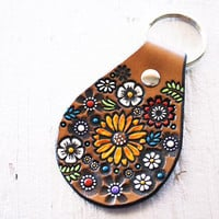Sunflower and Wildflowers Leather key ring - hand painted and hand stamped - Made to Order - boho floral key fob - keychain gift