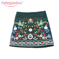 Spring Green Bohemia Embroidered Corduroy Skirts Women High Waist A-line Ethnic Floral Embroidery Skirt Ladies