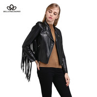 2016 autumn winter new fringed faux PU leather tassels sleeve back zippers women Motorcycle Jacket coat black