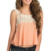 Double Zero Women's Salmon Chiffon with Floral Crochet Camisole